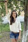Blue-jeans-takko-shorts-white-bershka-blouse-bronze-random-brand-belt