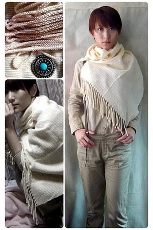 tan pants pants - beige shirt shirt - eggshell scarf scarf