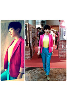 hot pink SHOCK PINK BOYFRIEND BLAZER blazer - yellow Sleeveless Top top