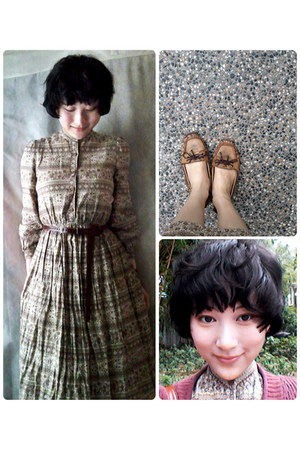 dark khaki vintage dress dress