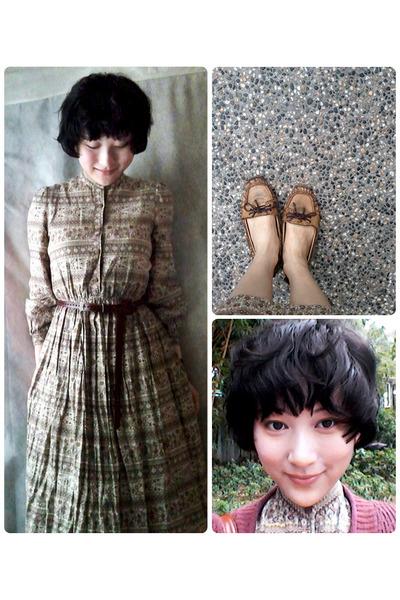 dark khaki vintage dress dress