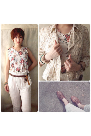 Sleeveless Top top - WINGTIPS shoes - FLORAL JACKET jacket