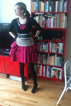 pink Betsey Johnson dress - white Forever 21 top - black Betsey Johnson belt - b