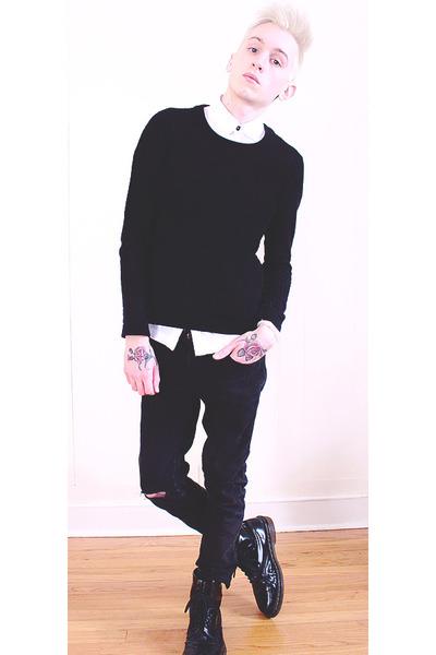 black Dr Martens boots - black H&M jeans - black H&M sweater - white H&M shirt