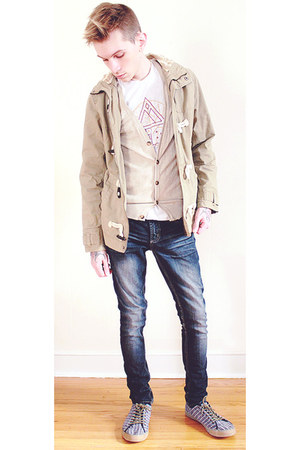 beige H&M jacket - beige H&M sweater - white TOMS t-shirt - navy H&M sneakers