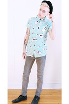 aquamarine Modern Amusement shirt - black Steve Madden shoes - silver H&M jeans