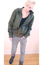 Light-brown-guess-boots-silver-h-m-jeans-army-green-marc-ecko-jacket