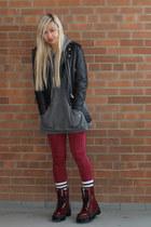 crimson Dr Martens boots - black Mirage Leathers jacket