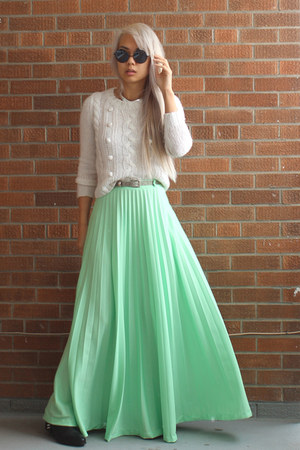 mint maxi skirt vintage skirt - spiked Zara boots - wool H&M sweater