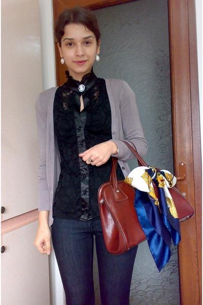 blue skinny jeans - scarf - brown vintage bag - black lacey Atmosphere blouse