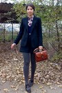 Black-thrifted-h-m-blazer-maroon-thrifted-tommy-hilfiger-shirt