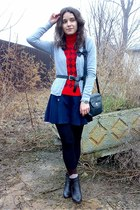 red plaid top - black vintage picard purse - navy shorts - dark brown socks