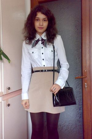 white shirt - beige Pimkie skirt - brown tights - brown Street One scarf - black