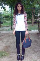 white blouse - red cardigan - black pants - gray meli melo necklace - blue purse