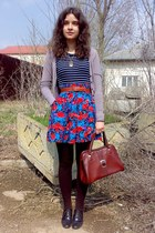 dark brown striped tights - brick red purse - blue shorts - navy blouse - light