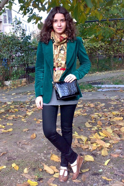 red trifted leather belt - green velvet trifted blazer - gold butterflies scarf