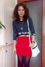 Blue-aqua-marime-blouse-red-orsay-skirt-white-purse-scarf-silver-beige