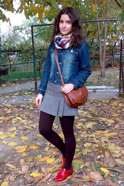 black sweater - blue jacket - heather gray Terranova skirt - dark brown tights -