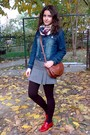 Black-sweater-blue-jacket-heather-gray-terranova-skirt-dark-brown-tights-