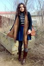 Dark-brown-boots-black-striped-sweater-black-trifted-knitted-blazer-tawny-