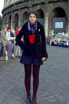 red simple blouse - black H&M coat - dark brown tights