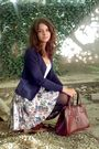 White-top-blue-cardigan-white-skirt-black-tights-brown-brown-purse