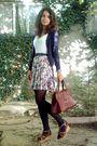 White-top-blue-cardigan-white-skirt-black-tights-brown-brown-purse