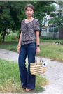 Brown-blouse-blue-jeans-brown-purse-blue-earrings-brown-bracelet-brown