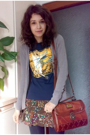 blue shirt - brown old leather boots - brown vintage Marc Chantal bag