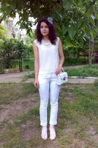 white trifted bag - white trifted lacey top - white pants - white blouse - beige