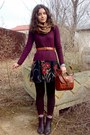 Crimson-sweater-dark-brown-socks-and-leggings-bronze-floral-scarf-brick-re