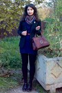 Brown-thrifted-scarf-navy-bow-detail-dress-black-h-m-blazer