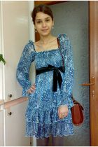 blue dress - gray tights - brown Marc Chantal purse - black Fabio Lenzi shoes -