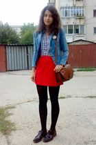 brown trifted purse - black oxford shoes - blue trifted jacket