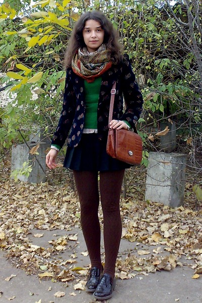 black pleated skirt - black velvet blazer - light brown shirt