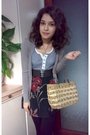Blue-shirt-brown-cardigan-floral-skirt-brown-belt-black-necklace-baske