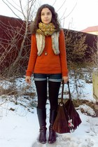 navy cut off denim shorts - burnt orange turtle neck Esprit sweater
