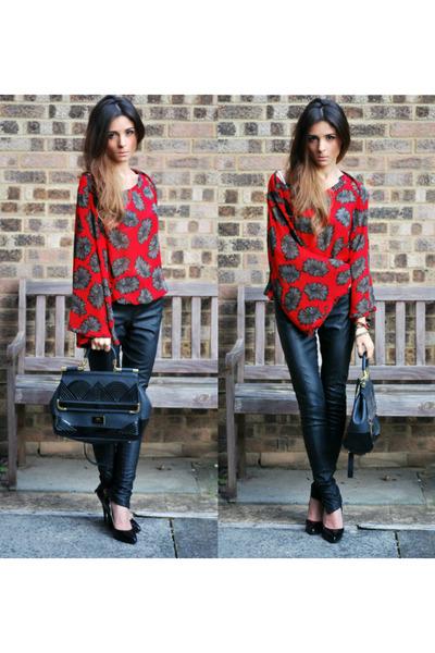 black bag - black leather pants pants - red blouse - black heels