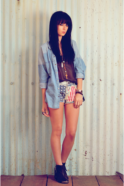 shorts - boots - Forever 21 shirt - raquel allegra blouse