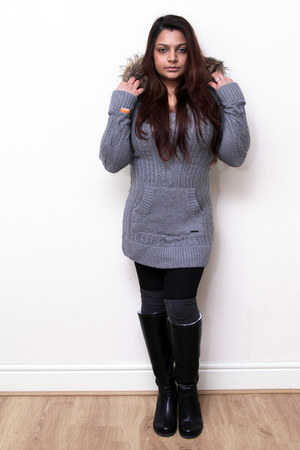 SOliver boots - Superdry dress - matte black Black Milk leggings - H&M socks