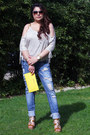 Blue-pull-bear-jeans-yellow-wrist-strap-michael-kors-bag