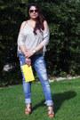 Blue-pull-bear-jeans-yellow-wrist-strap-michael-kors-bag