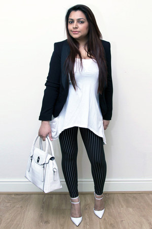 black pinstripe Black Milk leggings - black H&M blazer