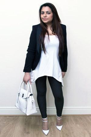 black pinstripe Black Milk leggings - black H&M blazer