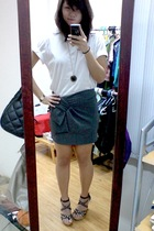 bench shirt - People are People skirt - boutique shoes - H&M necklace - Movado