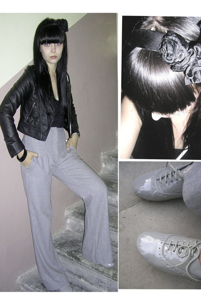 gray Dorothy Perkins shoes - black H&M jacket - black H&M accessories
