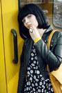 Black-biker-h-m-jacket-mustard-satchel-vintage-bag-black-with-daisy-atmos-bo