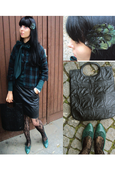 black H&M stockings - green Stradivarius jacket - black vintage skirt - green br