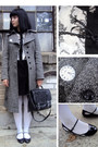 Gray-tweed-oasis-coat-black-vintage-bag