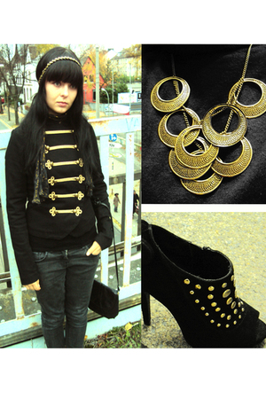 gold swing london necklace - black Deichmann shoes - black H&M jacket - black vi